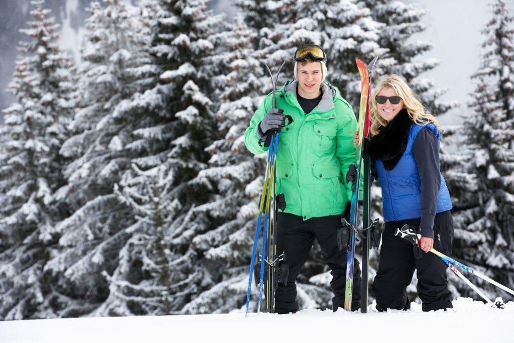 Couple on a ski trip