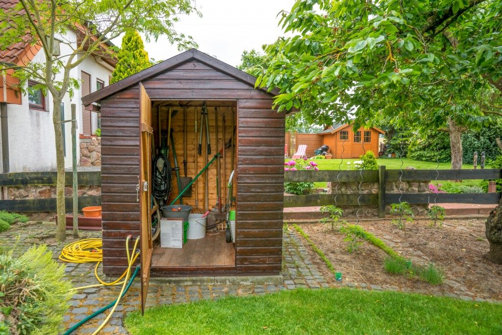 garden shed with equipment and tools inside