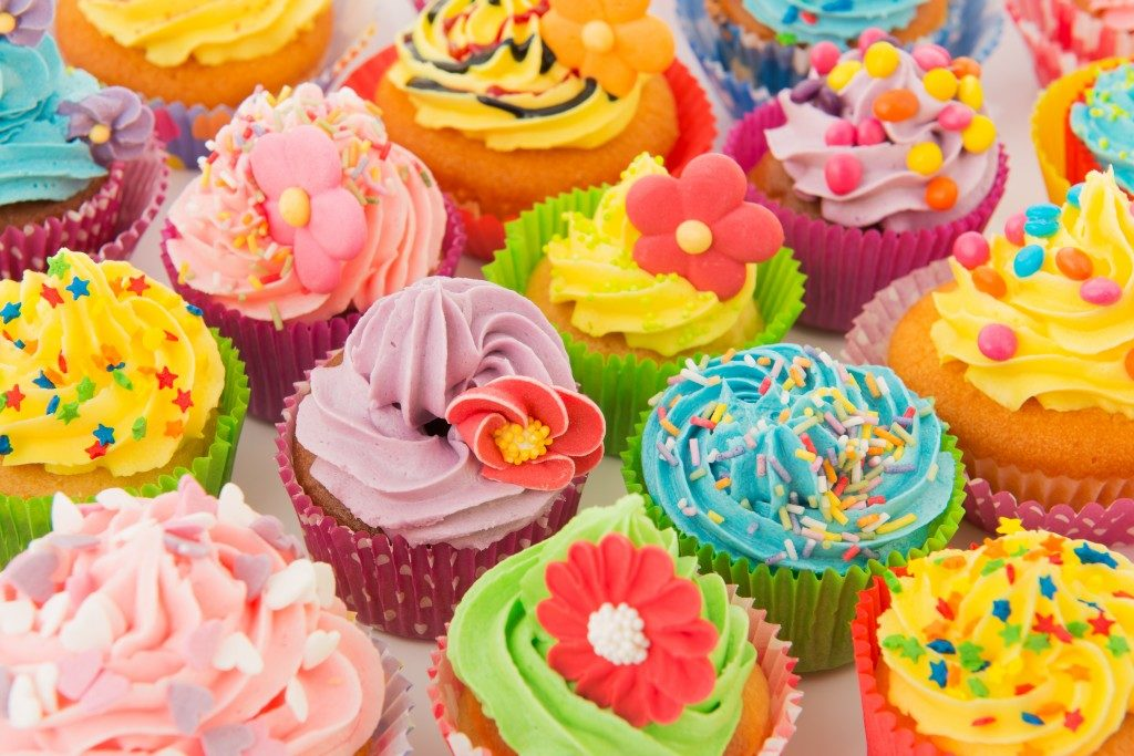 colorful frosted cupcakes