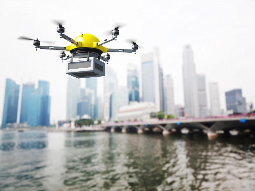 futuristic delivery drone