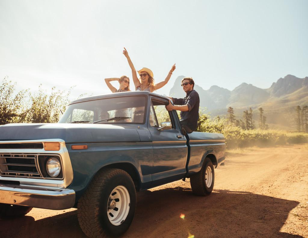 friends on a road trip