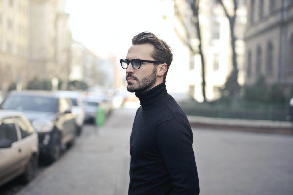 man wearing turtle neck sweater