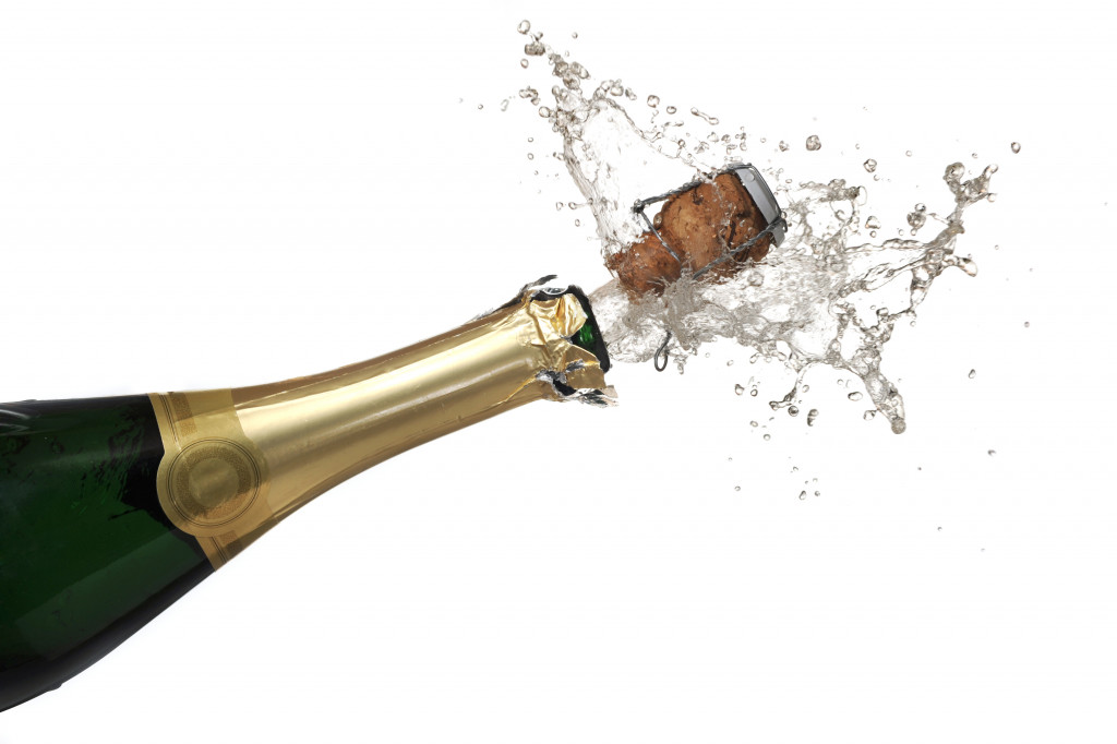 opened champagne bottle