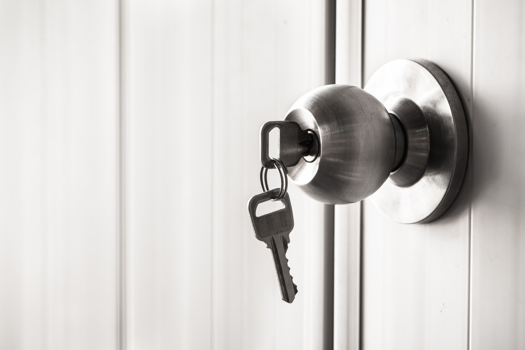 key inserted into a doorknob